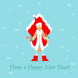 Cute Santa Cockerel Claus. Cute Cockerel in Santa Claus Dress with Pockets Full of Sweets Placed on the Blue Background with White Feathers. China Calendar Stock Image