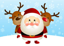 Cute Santa with deers Royalty Free Stock Image