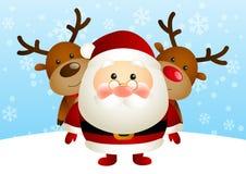 Cute Santa with deers Royalty Free Stock Image