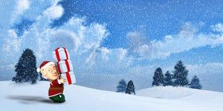 Cute Santa elf on a winter Landscape Stock Photo