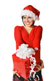 Cute Santa with gift box Royalty Free Stock Photo