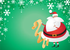 Cute Santa with Gifts on Green Background. Jolly Father Christmas with presents on a festive green background Royalty Free Stock Photos