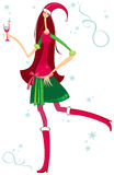Cute Santa Girl. With drink. Vector illustration Stock Images