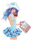 Cute Santa girl with shopping bag. Vector illustration Stock Images