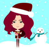 Cute Santa girl in winter background (vector) Stock Image