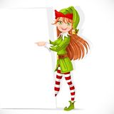 Cute Santa helper girl shows white banner Stock Photos