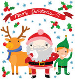 Cute Santa and His Helpers Royalty Free Stock Photos