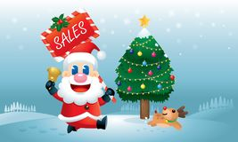 A cute Santa and his reindeer is running with a Christmas Sales promotion board carrying on his hand. royalty free illustration