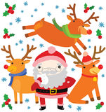 Cute Santa and His Reindeer Stock Photography