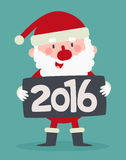 Cute Santa Holding a 2016 New Year Sign. Vector illustration of a cartoon santa standing and holding a 2016 new year sign Stock Photo