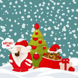 Cute Santa ,monkey in bag and christmas tree invintation card. Royalty Free Stock Photography