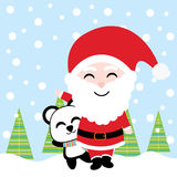 Cute Santa and panda smile on snow background vector cartoon, Xmas postcard, wallpaper, and greeting card Royalty Free Stock Image