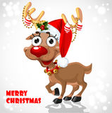 Cute Santa Reindeer with christmas decorations Stock Photos