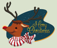 Cute Santa's Deer with Merry Christmas Sign, Vector Illustration Royalty Free Stock Photos