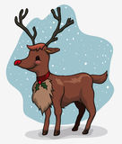 Cute Santa's Deer Outside, Vector Illustration Royalty Free Stock Photography