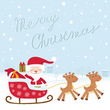 Cute Santa in sledge Royalty Free Stock Photo