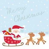 Cute Santa in sledge. A Christmas card with santa in sledge Royalty Free Stock Photo