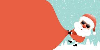 Santa Sunglasses Pulling Gift Bag Backwards Right Side Forest Turquoise royalty free illustration