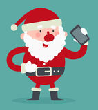 Cute Santa Talking on the Phone Stock Photos