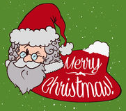 Cute Santa with Tender Expression in Post Card, Vector Illustration stock images
