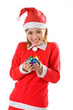 Cute Santa Tiny Gifts Joy Stock Photography