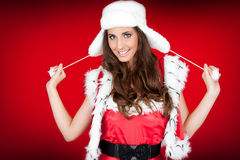 Cute santa woman on red bg Royalty Free Stock Photo