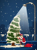 Cute Santa with Xmas Tree for Christmas celebration. Royalty Free Stock Photo