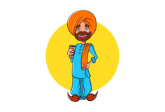 Cute Sardar ji holding a glass in hand and smiling. Royalty Free Stock Photography