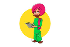 Cute Sardar ji holding a paper and reading. Royalty Free Stock Images