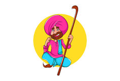 Cute Sardar ji sitting and holding a stick in hand. Royalty Free Stock Images