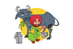 Cute Sardar Milkman and cow eating grass. Royalty Free Stock Images