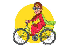 Cute Sardarni wearing sunglasses and riding a bicycle. stock illustration