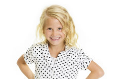 Cute Sassy Little Girl. A fun portrait of a cute sassy little girl. Isolated on a white background Royalty Free Stock Photo