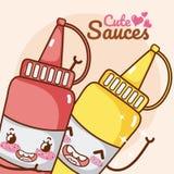 Cute sauces bottles kawaii cartoon. Vector illustration graphic design Stock Images