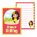 Cute say hello on the beach background vector cartoon, kid notebook paper Royalty Free Stock Photos