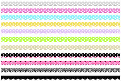 Cute Scallop Borders. Cute borders with polka dots, scallop edges and elegant damask patterns Stock Photos