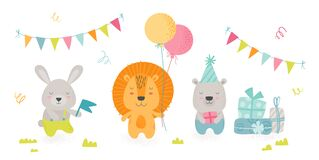 Free Cute Scandinavian Boho Style Teddy Animals Celebrate Happy Birthday Party. Kawaii Rabbit, Lion And Bear Holding Holidays Royalty Free Stock Image - 179818776