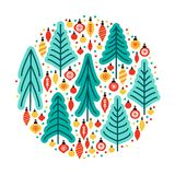 Cute Scandinavian Christmas Tree Market Background With Hand Drawn Fir Trees And Christmas Balls Royalty Free Stock Photo