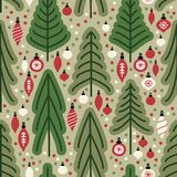 Cute Scandinavian Christmas Tree Market Seamless Pattern Background Royalty Free Stock Photo
