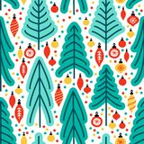 Cute Scandinavian Christmas Tree Market Seamless Pattern Background With Hand Drawn Fir Trees And Christmas Balls Stock Photos