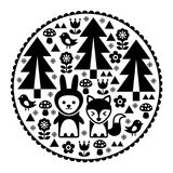 Cute Scandinavian round folk art pattern in black - Finnish inspired, Nordic style. Forest monochrome design with trees, birds, fox and rabbit - circle Stock Images