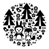 Cute Scandinavian round folk art pattern in black - Finnish inspired, Nordic style. Forest monochrome design with trees, birds, fox and rabbit - circle Royalty Free Stock Images
