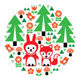 Cute Scandinavian round folk art pattern - Finnish inspired, Nordic style. Forest design with trees, birds, fox and rabbit in red, orange, and green in circle Royalty Free Stock Photography