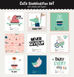 Cute scandinavian set of greeting cards Stock Images
