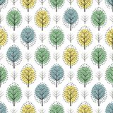 Cute scandinavian style decorative trees seamless pattern. Nature background with colorful leaves. Autumn forest vector illustration. Design for textile Stock Photo