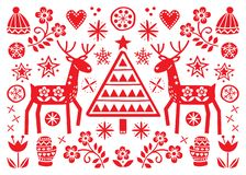 Christmas folk art greeting card with reindeer, flowers, Xmas tree and winter clothes pattern in red on white background - Merry C stock illustration