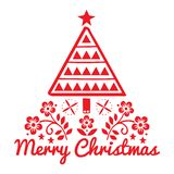 Christmas folk art greeting card with Xmas tree and flowers pattern in red on white background - Merry Christmas decoration royalty free illustration