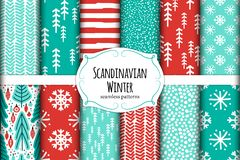 Cute Scandinavian Winter Hand Drawn Seamless Patterns Set Royalty Free Stock Images