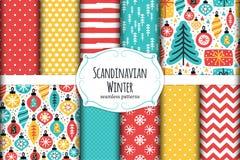 Cute Scandinavian Winter Hand Drawn Seamless Patterns Set Royalty Free Stock Image