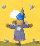 Cute Scarecrow. Acrylic illustration of the cute Scarecrow Stock Photos